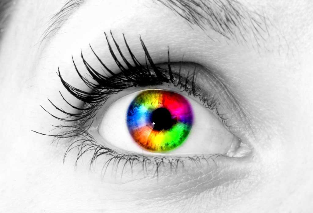 An image of a colourful eye for website design