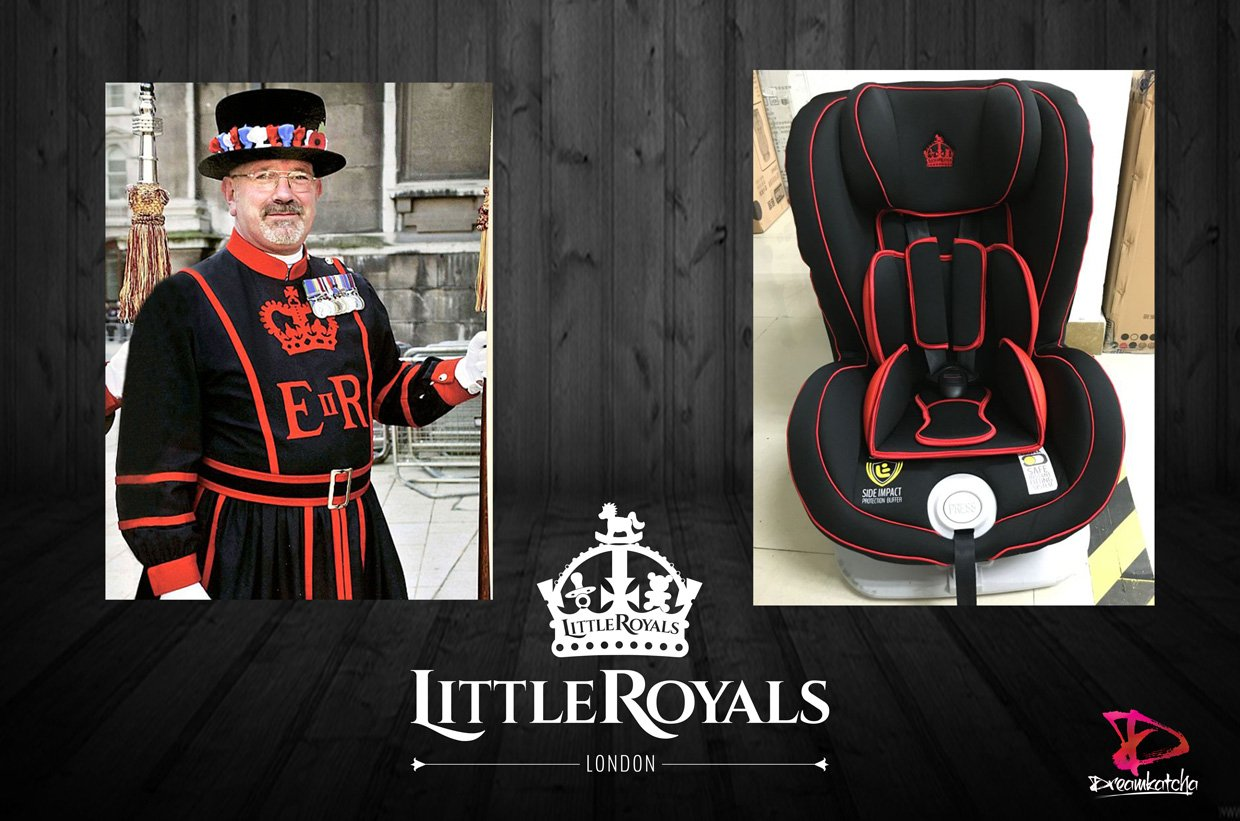 The comparison between our car seat design and a beefeater London guard