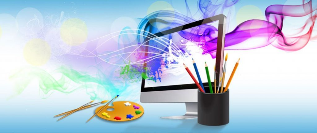 image of a website on a computer monitor and paint brushes- low res