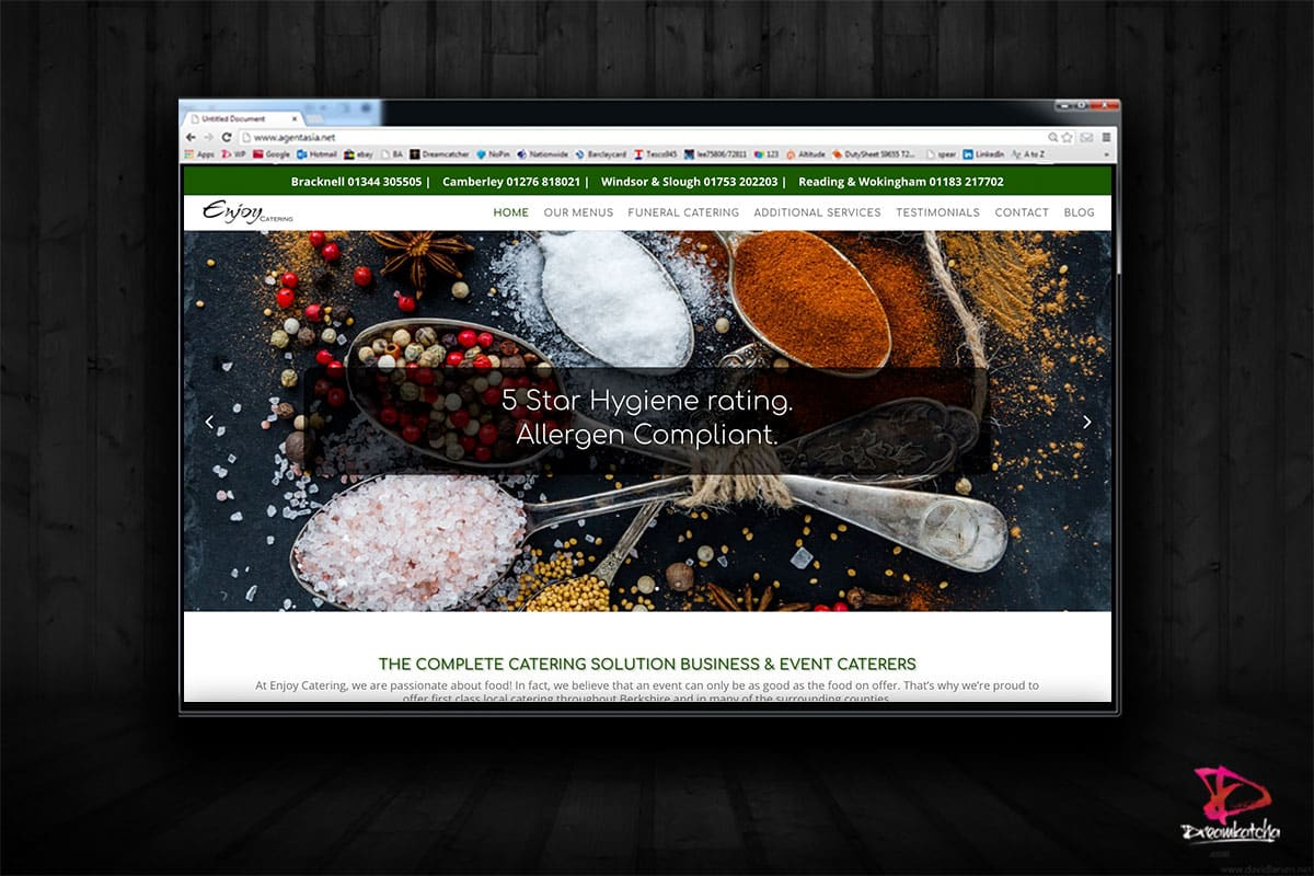 website Design for catering Company Bracknell
