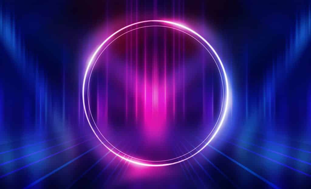 Blue and pink ring with Dj head nodding to the beat