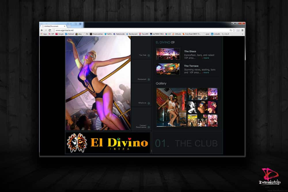 Website design for a nightclub in Ibiza